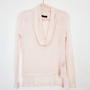 Sanctuary Pink Cowl Neck Sweater Hi Lo